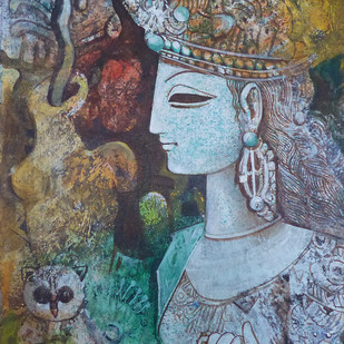 Untitled by Sarbani Ganguly, Traditional Painting, Acrylic on Canvas, Brown color