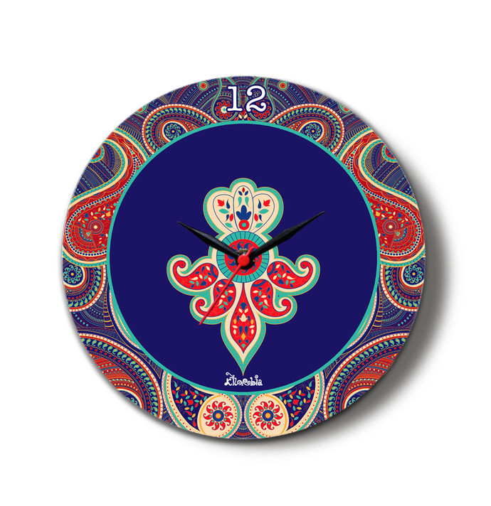 "Majestic Paisley Glass Clock 16"" Clock By Kolorobia"