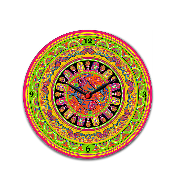 "Truck Art Glass Clock 16"" Clock By Kolorobia"