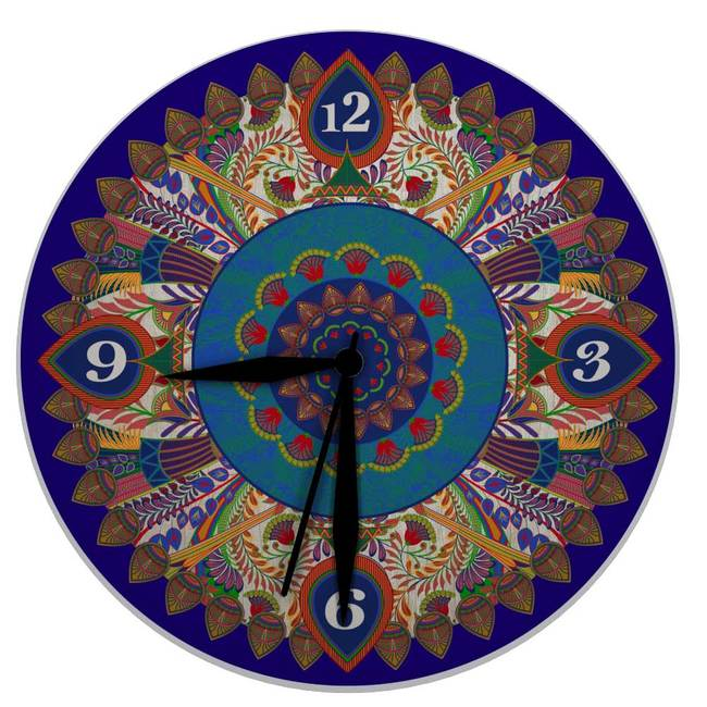 """Egyptian Tranquility Glass Clock 16"""" Clock By Kolorobia"""