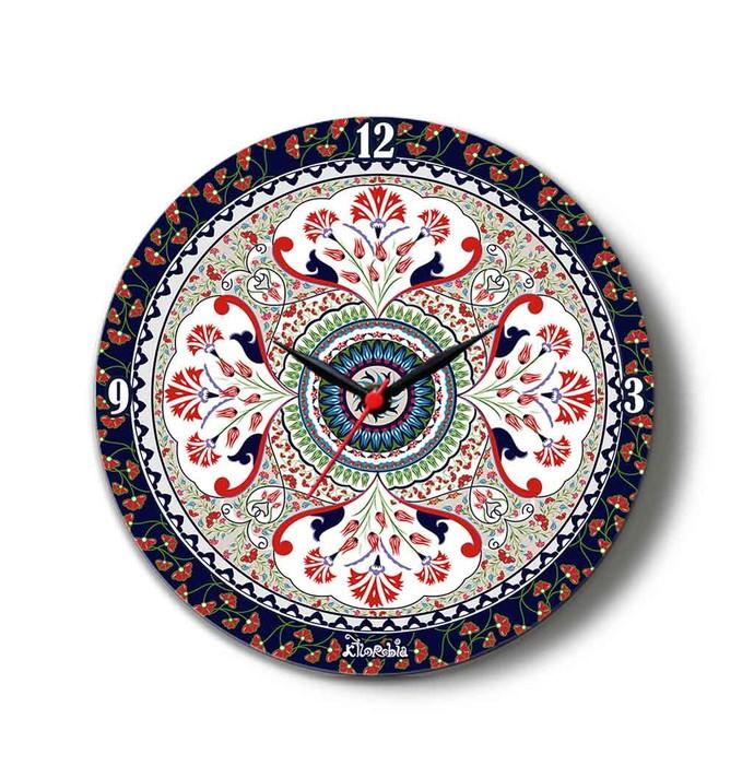 "Turkish Fervor Glass Clock 16"" Clock By Kolorobia"