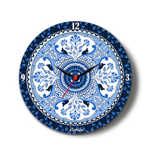 "Pristine Turkish Glass Clock 16"" Clock By Kolorobia"