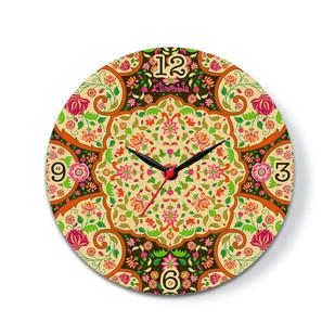 "Mughal BloomsGlass Clock 16"" Clock By Kolorobia"