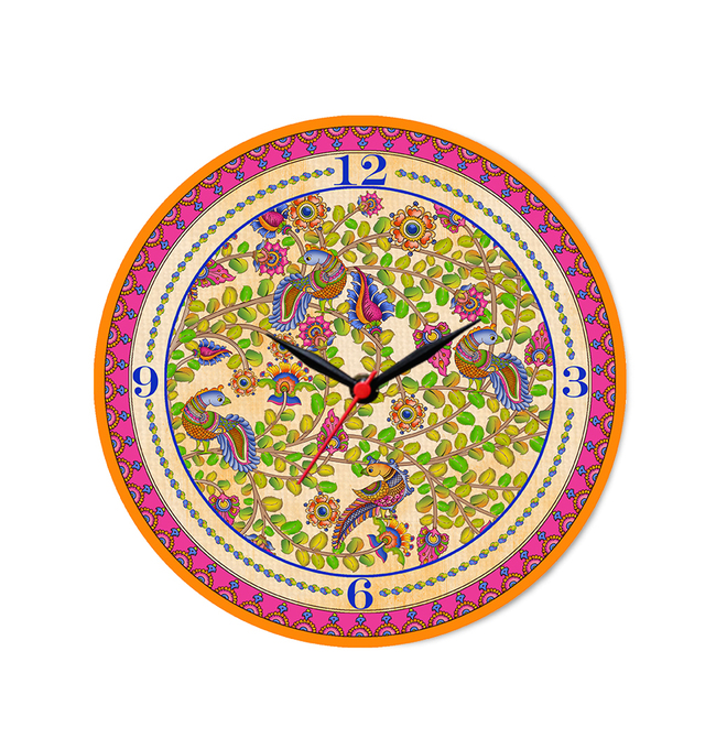 "Kalamkari Finesse Glass Clock 10"" Clock By Kolorobia"
