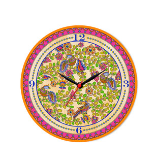 "Kalamkari Finesse Glass Clock 10"" Clock By Kolorobia"