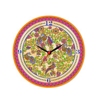 "Kalamkari Finesse Glass Clock 16"" Clock By Kolorobia"