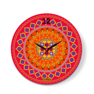 "Dazzling Ikat Glass Clock 16"" Clock By Kolorobia"