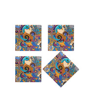 Peacock Admiration Wooden Coasters Coaster Set By Kolorobia