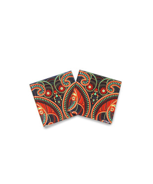 Majestic Paisley Glass Coaster Coaster Set By Kolorobia