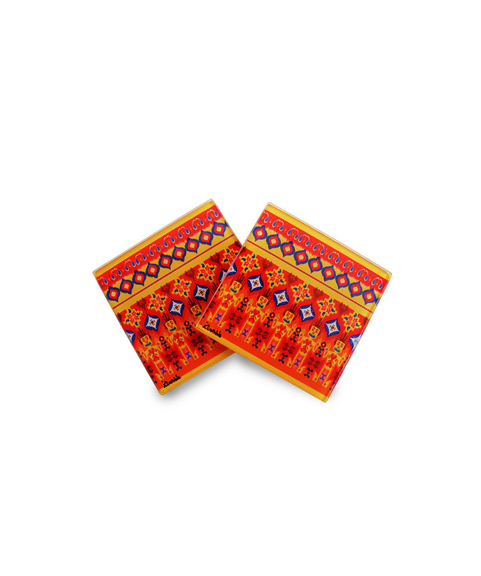 Dazzling Ikat Glass Coaster Coaster Set By Kolorobia