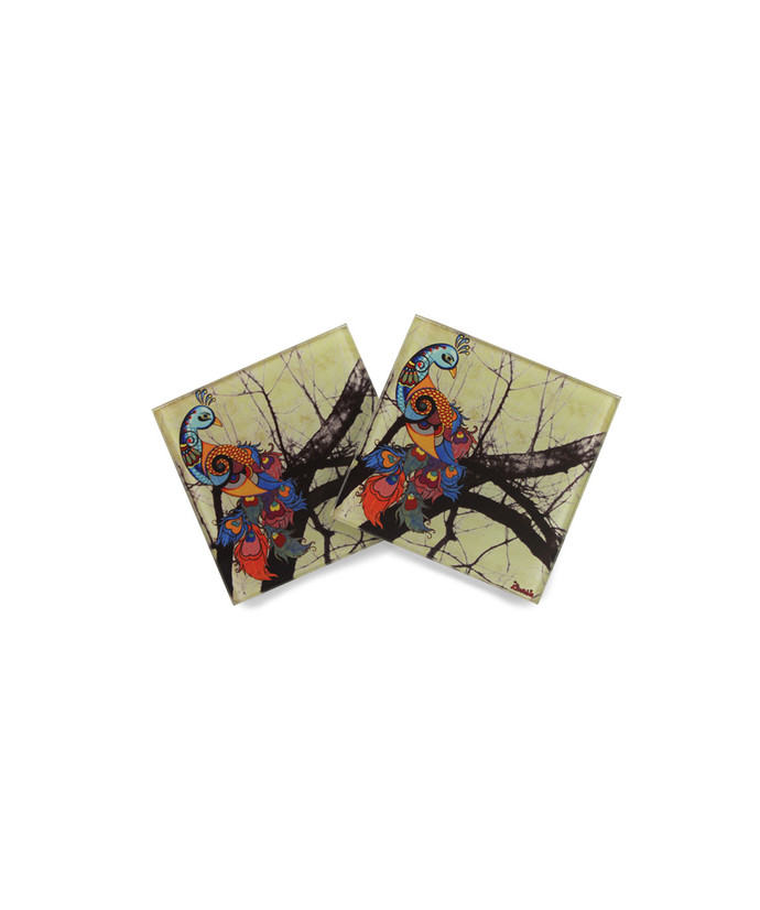 Charismatic Peacock Wooden Coasters Coaster Set By Kolorobia