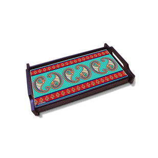 Majestic Paisley Medium Wooden Tray Serveware By Kolorobia