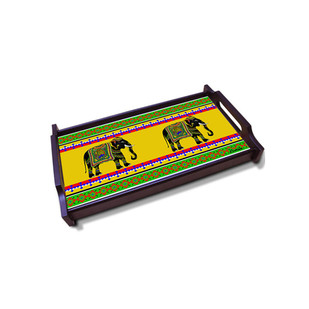 Elephant Majesty Small Wooden Tray Serveware By Kolorobia