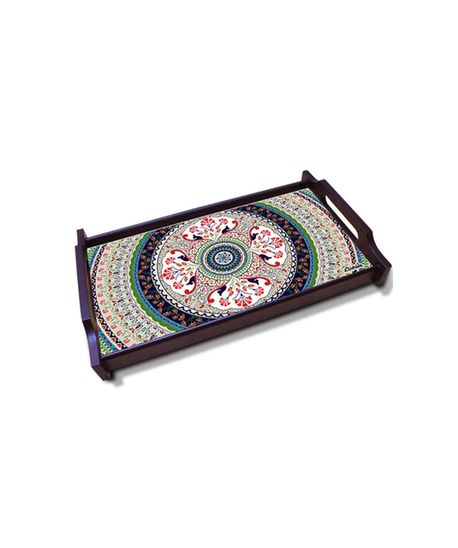 Turkish Fervor Medium Wooden Tray Tray By Kolorobia