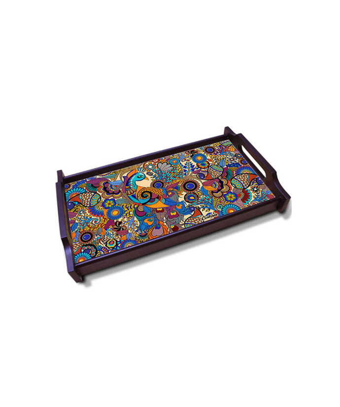 Peacock Admiration Small Wooden Tray Tray By Kolorobia