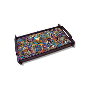 Peacock Admiration Large Wooden Tray Tray By Kolorobia