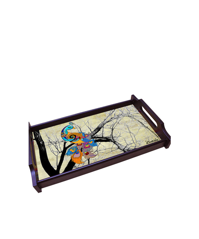 Charismatic Peacock Medium Wooden Tray Tray By Kolorobia