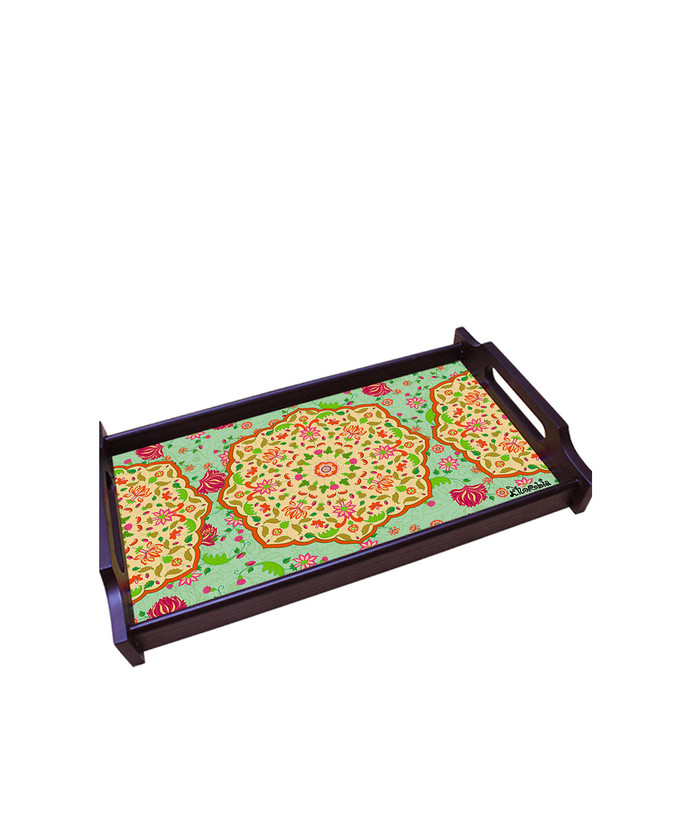 Ornate Mughal Medium Wooden Tray Tray By Kolorobia