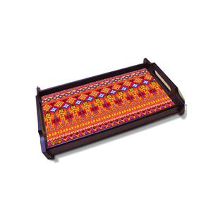 Dazzling Ikat Medium Wooden Tray Tray By Kolorobia