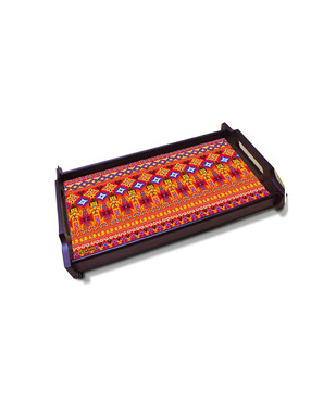 Dazzling Ikat Large Wooden Tray Tray By Kolorobia