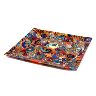 Peacock Admiration Snack Platter Small Platter By Kolorobia