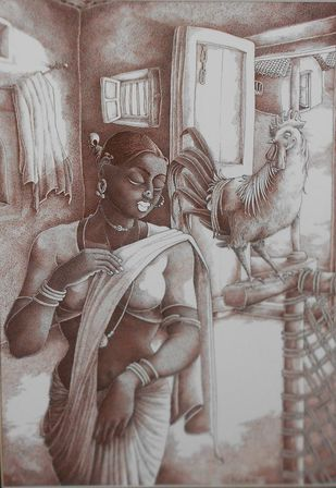 UNTITLED by Bairu Raghuram, Expressionism Drawing, Ink on Paper, Brown color
