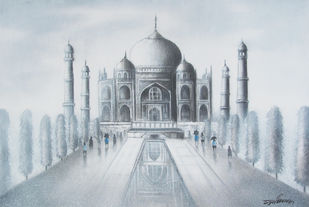 Seeking the Taj by Somnath Bothe, Illustration Painting, Charcoal on Canvas, Pink color