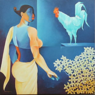 UNTITLED by Bairu Raghuram, Expressionism Painting, Oil on Canvas, Blue color