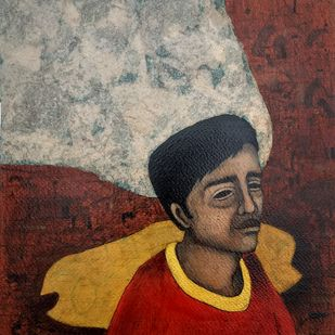potrait 10 by Himanshu Lodwal, Expressionism Painting, Mixed Media on Paper, Brown color