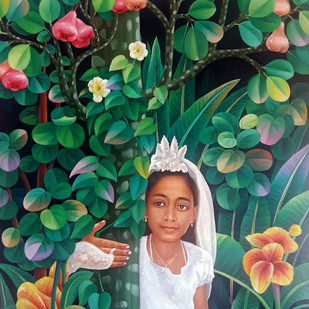 after the holy communion by Murali Nagapuzha, Pop Art Painting, Oil on Canvas, Green color