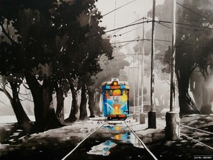 Kolkata City Scape-12 by Arpan Bhowmik, Impressionism Painting, Acrylic on Canvas, Gray color