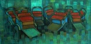 RIKSHAW STAND III by Ram Kumar Maheshwari, Expressionism Painting, Acrylic on Canvas, Green color