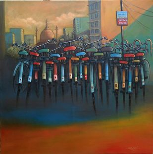 CYCLE STAND III by Ram Kumar Maheshwari, Realism Painting, Acrylic on Canvas, Brown color