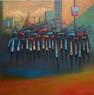 CYCLE STAND III by Ram Kumar Maheshwari, Realism Painting, Acrylic on Canvas, Brown color