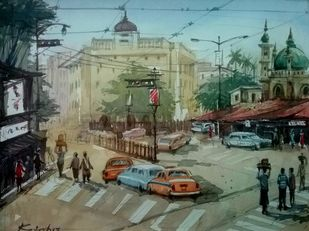 Busy Street by Krishnendu Halder, Impressionism Painting, Watercolor on Paper, Green color
