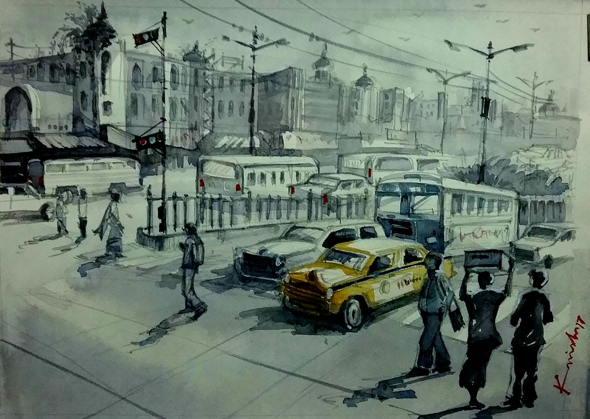 Yellow taxi by Krishnendu Halder, Impressionism Painting, Watercolor on Paper, Green color