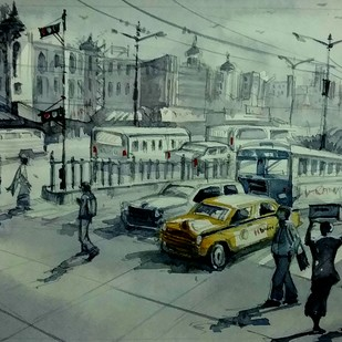 Street of Kolkata by Krishnendu Halder, Impressionism Painting, Watercolor on Paper, Green color