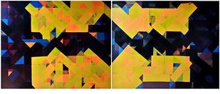 urban mindscape by arindam bose, Geometrical Painting, Acrylic on Canvas, Brown color