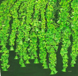 Thousand Hopes3 by Pankhi Saikia Nath, Expressionism Painting, Oil on Canvas, Green color