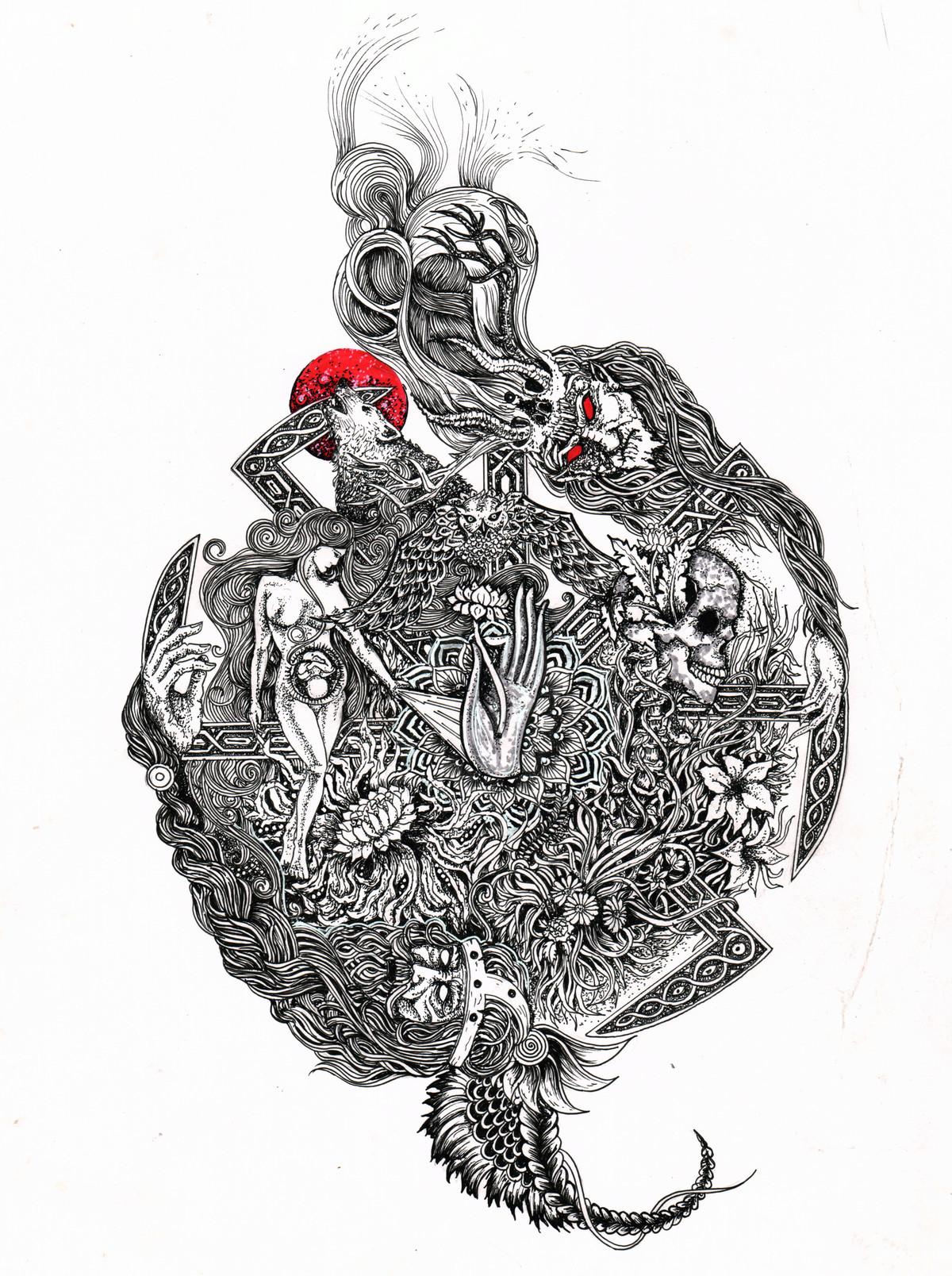 Table of Antithesis by Pallab Baruah, Illustration Digital Art, Digital Print on Paper, Gray color