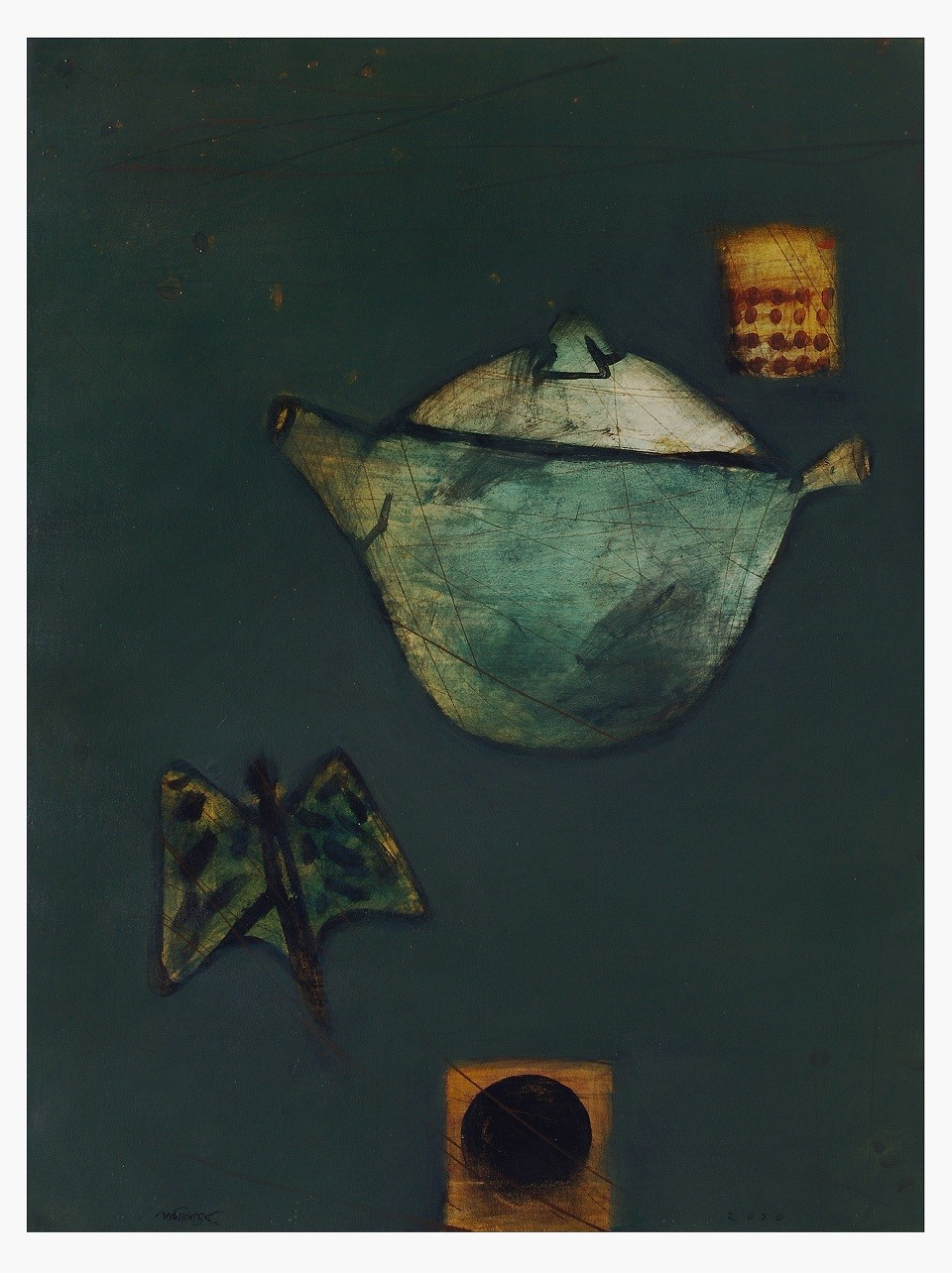 Story of an unknown wind by Partha Dasgupta, Expressionism Painting, Mixed Media on Canvas, Blue color