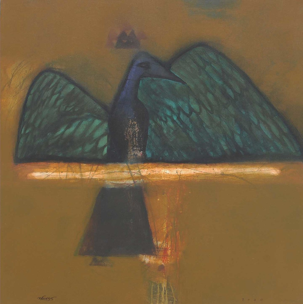 PLUNGE by Partha Dasgupta, Minimalism Painting, Mixed Media on Canvas, Brown color
