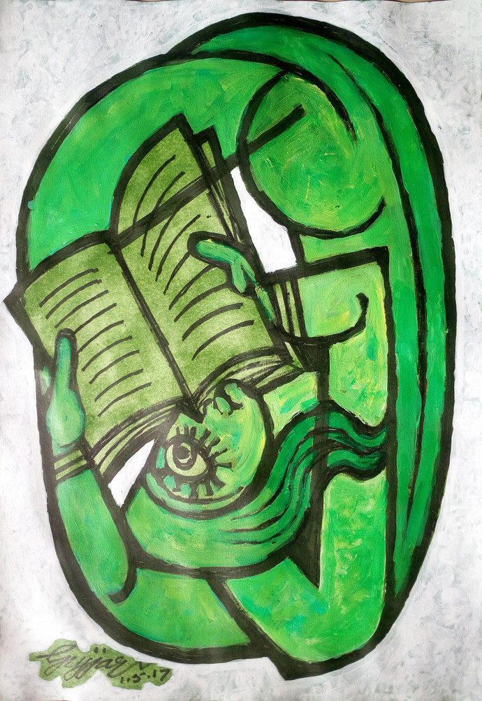 girl reading by Gujjarappa B G, Abstract Painting, Acrylic & Ink on Paper, Green color