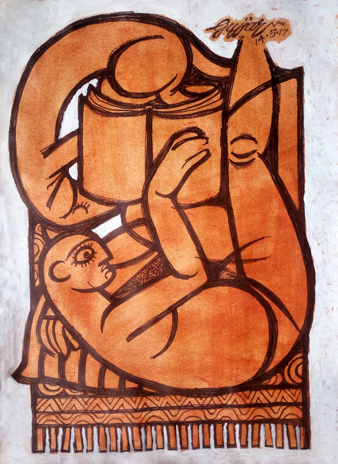 man reading by Gujjarappa B G, Abstract Painting, Acrylic & Ink on Paper, Brown color