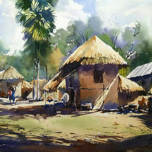 Village Life 2 by Sunil Linus De, Impressionism Painting, Watercolor on Paper, Brown color