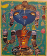 KRISHNA by Subramanian G, Expressionism Painting, Canvas Acrylic Collage, Brown color
