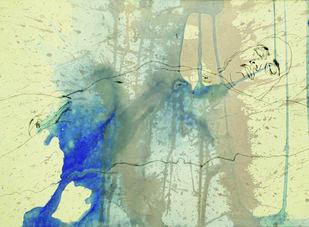 Naked man series 1 by Danika Rodrigues, Abstract Painting, Mixed Media on Paper, Beige color