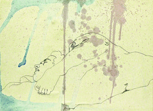 Naked Man Series 2 by Danika Rodrigues, Minimalism Painting, Mixed Media on Paper, Beige color