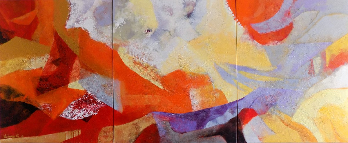 Rising Above Religion by Vishwajyoti Mohrhoff, Abstract Painting, Acrylic on Canvas, Brown color