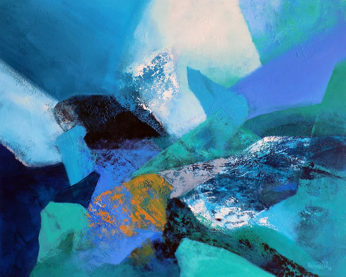 Emerald Inroads by Vishwajyoti Mohrhoff, Expressionism Painting, Acrylic on Canvas, Blue color